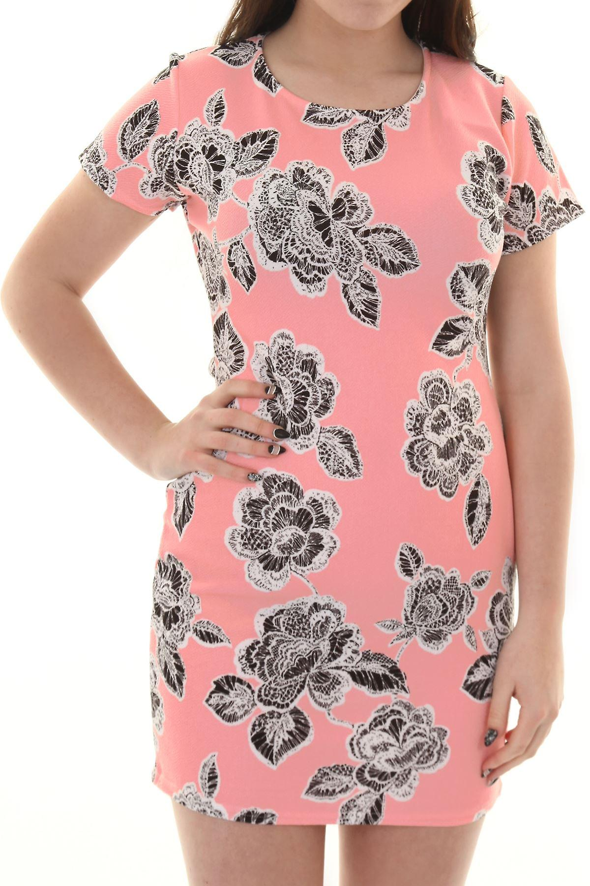 Ladies Pastel Floral Print Short Sleeve Crepe Textured Shift Dress A-Line Tunic