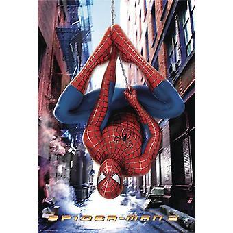 Spider-Man 2 Poster  Spiderman kopfüber an einem Spinnenfaden