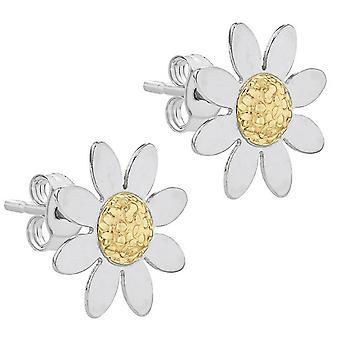 KJ Beckett Daisy Stud Earrings - Yellow Gold/Silver