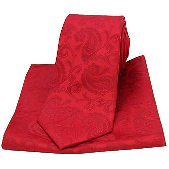 David Van Hagen Paisley tecido gravata e lenço de bolso conjunto - vermelho