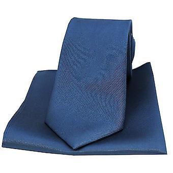 David Van Hagen Diagonal Twill tecido gravata e lenço de bolso conjunto - Denim Azul/Navy