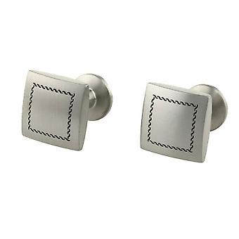 TI2 Titanium Stitch gravierte Manschettenknöpfe - Silber
