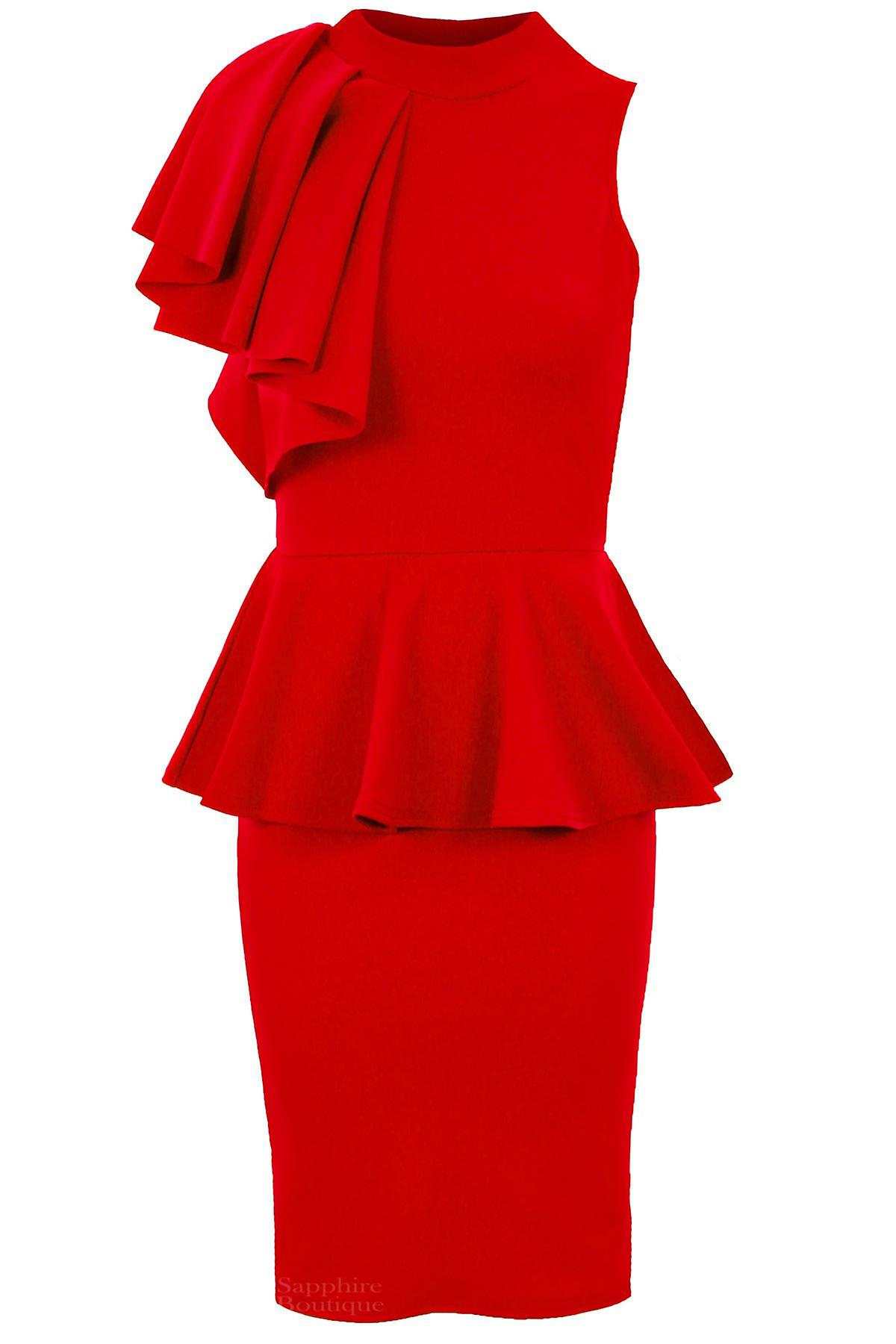 Ladies Sleeveless High Neck Frill Shoulder Women's Peplum Bodycon Party Dress