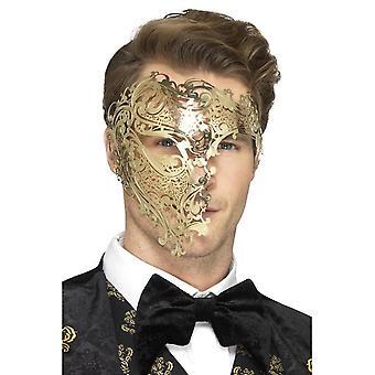 Deluxe metalli filigraani Phantom naamio, kulta