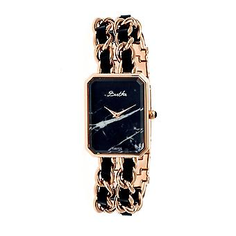 Bertha Eleanor Ladies Swiss Bracelet Watch - Rose Gold/Black