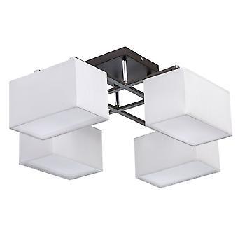 Glasberg - cromo e grafite oito luz semi-nivela Downlight montagem com tons de tecido branco 101011308