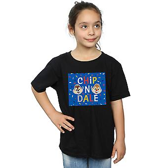 Disney Girls Chip N Dale niebieski rama T-Shirt