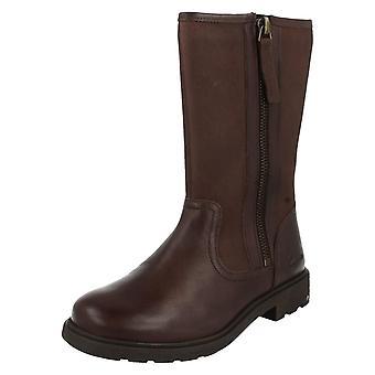 Girls Clarks Boots Ines Rain Brown Size 7 G