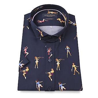 Guide London Pin-up Tennis Cotton Sateen Short Sleeve Men's Shirt