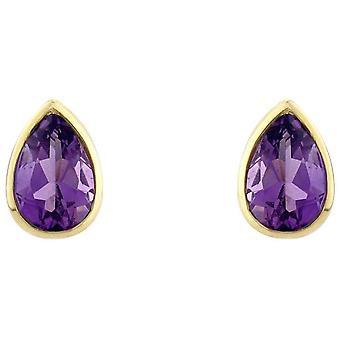 Mark Milton Small Pearl Amethyst Earrings - Purple/Yellow Gold