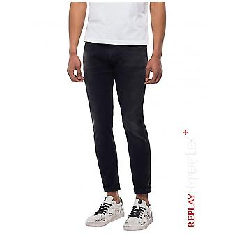 Replay Jeans Slim fit Hyperflex + Anbass jeans-zwart denim