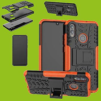 Voor Huawei Y6 2019 Hybrid Case 2-delige outdoor Orange Bag cover bescherming