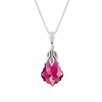 Ewige Sammlung barocker Rubin österreichische Crystal Sterling Silber Anhänger Halskette