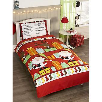 Santa's List Double Christmas Duvet Cover and Pillowcase Set