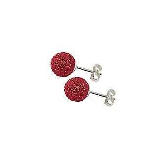 Evig samling Shamballa 8mm rød Glitter Ball rustfritt stål Stud pierca øredobber