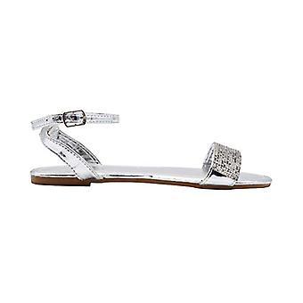 Via Rosa naisten muoti sandaalit metallinen slingback nilkka asuntoja strassit