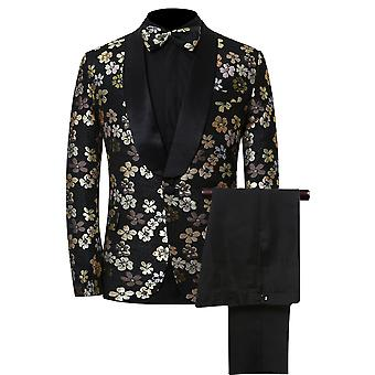 Allthemen Men's Black Embroidered Flower 2-Pieces Classic Casual&Formal Wild Suits Blazer&Trousers