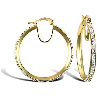 Jewelco London Ladies 9ct Yellow Gold White Round Crystal Eternity 3mm Hoop Earrings 31mm