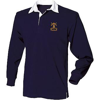 9th Queens Royal Lancers Veteran - Licensed British Army Embroidered Long Sleeve Rugby Shirt