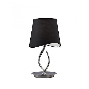 Mantra Ninette tafel lamp 1 licht E14 klein, gepolijst chroom met zwarte tint