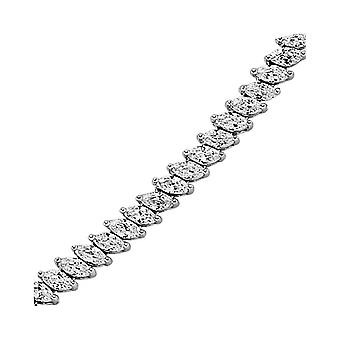 Jewelco London Rhodium Plated Sterling Silver Marquise Cubic Zirconia Eternity Tennis Necklace