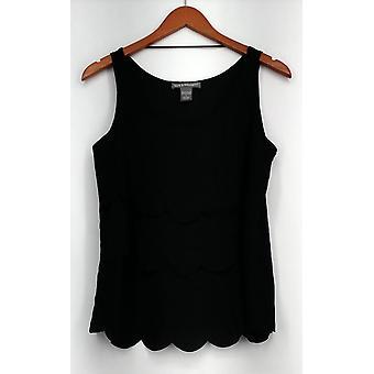 Kate & Mallory Top Tank w/ Scallop Layers Sleeveless Black Womens A417046