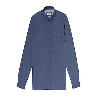 Lacoste Slim Fit Button Down Collar Shirt Blue Marle