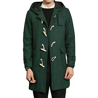 Allthemen Men's Overcoat Mid-Long Horn Buttons Hooded Casual Autumn Coat