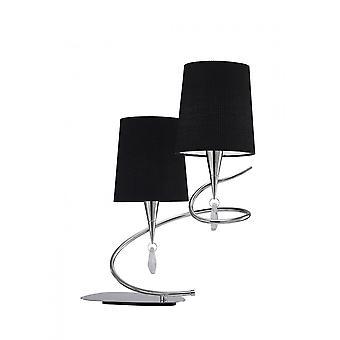Mantra Mara bordslampa 2 ljus E14, polerad krom med svarta nyanser