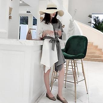 Gestreifte Patchwork V Hals Gürtel hohe Taille unregelmäßige Midi Kleider