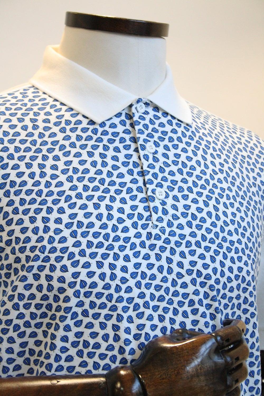 Merc London Howick Off-White Leaf Print Polo Shirt