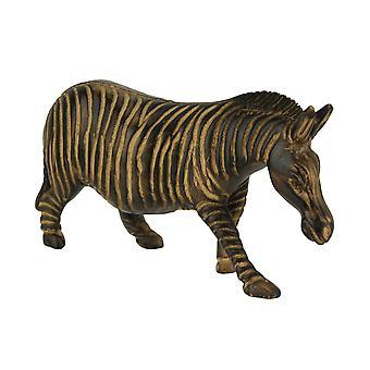 Hand Carved Wood Burned Finish Zebra Statue