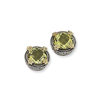 925 Sterling Silver With 14k 2.55Lemon Quartz Earrings Jewelry Gifts for Women - 2.55 cwt