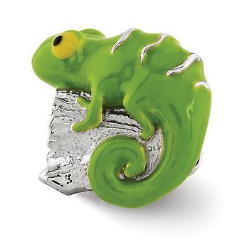 925 Sterling Sølv poleret finish Reflections Enameled Lizard Log Perle Charm Vedhæng halskæde smykker gaver til kvinder