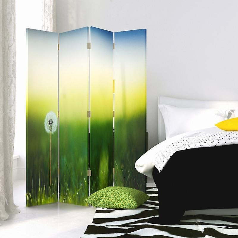 Diviseur de chambre, 4 panneaux, double-sided, 360 rotatable, toile, dandelion dans l'herbe verte