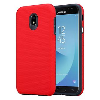 Cadorabo Case for Samsung Galaxy J7 2017 Case Cover - Outdoor Phone Case with Extra Grip Anti Slip Surface in Triangle Design made of silicone and plastic - Protective Case Hybrid Hardcase Back Case
