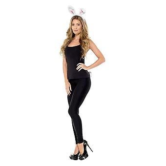 Erwachsenen White Rabbit Kit Stirnband & Tail Fancy Dress Zubehör
