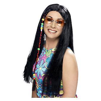 Dame sort hippie Party paryk med perler Fancy kjole tilbehør