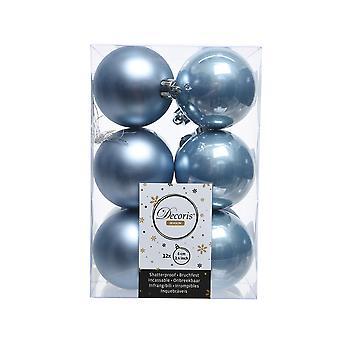 12 Steel Blue 6cm Shatterproof Christmas Tree Bauble Decorations