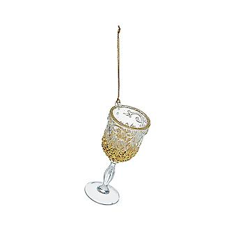 Gold Glittered Acrylic Wine Glass Tree Ornament
