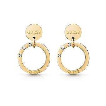 Guess Jewellery Logo Coin Circle Gold Earrings UBE29031