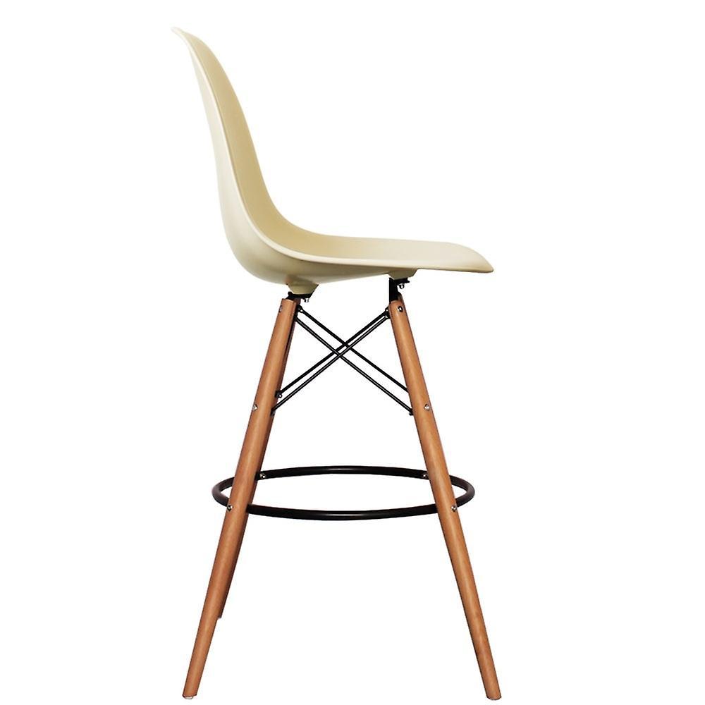 Charles Eames Style Vanilla Plastic Bar Stool
