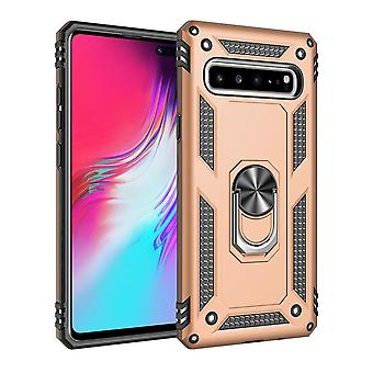 For Samsung Galaxy S10 5G Case Armour Shockproof Cover 360 Rotation Holder, Gold