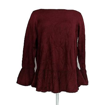 Style et Cie. Femmes plus Sweater Solid Ruffle Pull-Over Burgundy Red