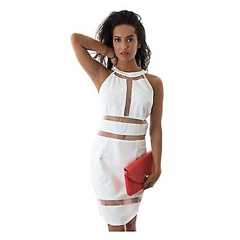 LUXE Mesh Panel Bodycon Dress In