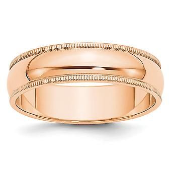 10k Rose Gold 6mm Milgrain Half Round Band Ring Jewelry Gifts for Women - Ring Size: 4 to 14
