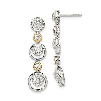 925 Sterling Silver With 14k Cubic Zirconia Drop Dangle Stud Earrings Jewelry Gifts for Women
