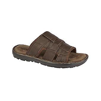Roamers Mens Brown Leather Open Toe Mule Nylex Lining Memory Foam Sandals