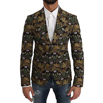 Dolce & Gabbana Black Green Leaves Pattern Blazer