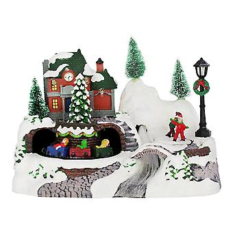 Christmas Shop LED Fiber Optic Snow Village